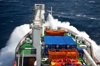 The SA Agulhas II traveling through the Roaring Forties