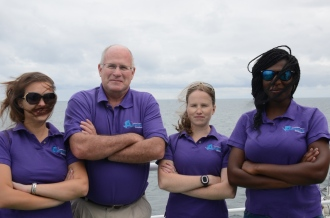 Jenna, Ian, Nicola and Tebogo enroute to Antarctica on the SA Agulhas II