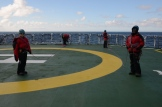 Rope training enroute South on the heli-deck of the SA Agulhas II