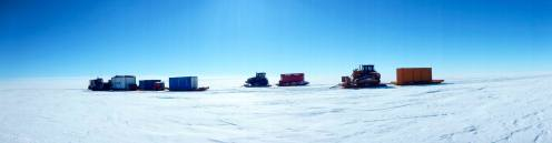 The CAT train en route to the ice shelf